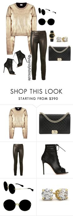 """Black and gold"" by nicolemorris87 on Polyvore featuring Yves Saint Laurent, Chanel, J Brand, Gianvito Rossi, Miu Miu and Rolex"