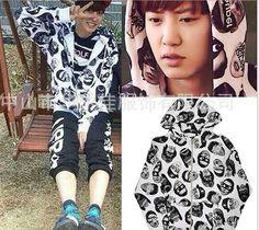KPOP EXO Chanyeol Coat Chan Yeol Head Portrait Cap Cardigan Jacket Free Shopping #Allkpoper