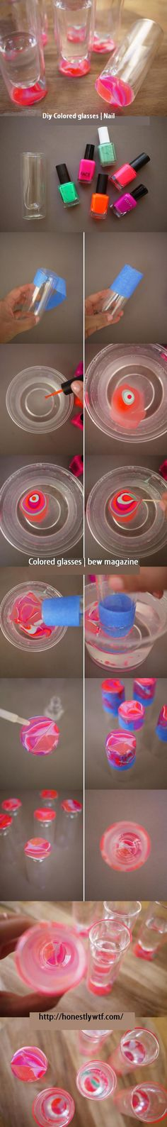 love this idea! swirl painted shot glasses. i have plenty of nail polish around the house that could be put to good use.