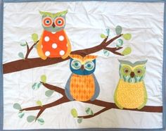 quilt patterns with owls | Forest Friends baby or toddler quilt, Branches and Owls, with applique ...