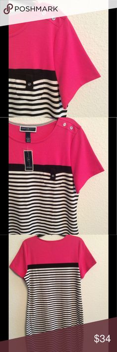 BRAND NEW-KAREN SCOTT DRESS IN PINK,NAVY & WHITE KAREN SCOTT BEAUTIFUL BRAND NEW DRESS WITH PINK AND NAVY & WHITE STRIPES. IT HAS THE TAGS STILL ON IT. YOU ARE GOING TO LOVE ❤️ WEARING THIS DRESS OR GIVING IT FOR A GIFT. 60% COTTON AND 40% POLYESTER. MACHINE WASHABLE. NWT KAREN SCOTT Dresses