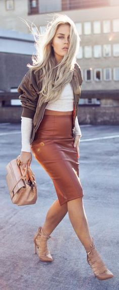 Camel Leather Skirt Fall Inspo by Angelica Blick