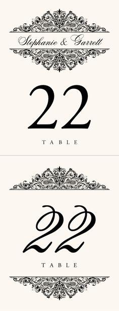 Paisley Power Vintage Monogram Wedding Table Numbers