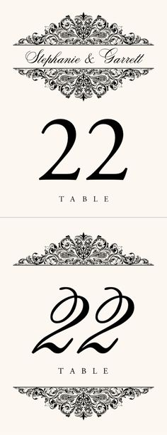 Paisley Power Vintage Monogram Wedding Table Numbers