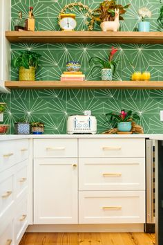 "fun and colorful kitchen backsplash featuring clé cement tile hexagon ""radar"" in kelly green. shop the pattern and the multiple colorways to find the right fit for your kitchen. #cement #tile #kitchen #backsplash"