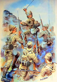 British troops advancing up a mountain, Boer War British Army Uniform, British Soldier, Military Art, Military History, South Afrika, British Armed Forces, King And Country, British Colonial, Zulu