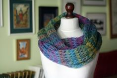 #Infinity #scarf, knit cowl, multicolor cowl, mohair cowl, loop scarf, knit seamless, knit #neckwarmer, scarf wrap, knit wrap, cowl neck