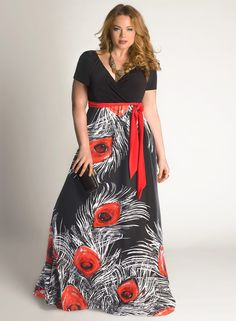 Galia Maxi Dress in Black/Red