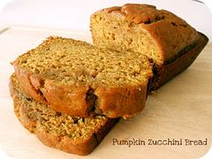 Pumpkin zucchini bread---yum!! | 35 Delicious Zucchini Recipes | Six Sisters' Stuff iwant to make this and turn it into cake balls with maple frosting and butterscotch dipped! o man im starving!