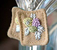 Group of: Hydrangea Fiber Earrings Textile Hand embroidery tagt by Waterrose | We Heart It
