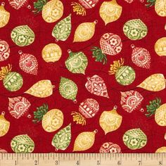 Holiday Magic Tossed Ornaments Red from @fabricdotcom  Designed by Lisa Audit for Wilmington Prints, this cotton print fabric is perfect for quilting, apparel and home decor accents. Colors include green, gold, red and cream.