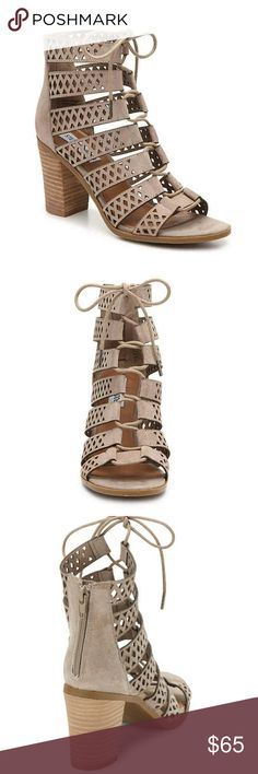 🆕️ Steve Madden Delphine Heels NITB- The Steve Madden Delphine Gladiator sandal continually inspires the fashionista with its lace up detailing and block heel. Strap up this strappy sandal for one amazing look. Taupe Color   ° Perforated Suede Upper ° Back zipper for easy on and off ° Ghillie Lace up ° 3 1/4 Stacked heel  ° Synthetic Sole  Use stock photos to help show actual shoe due to lighting issues etc. Last photo is item for purchase. Steve Madden Shoes