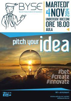 Locandina del secondo pitch tenuto da Byse (Bocconi Young Students Entrepreneurs)