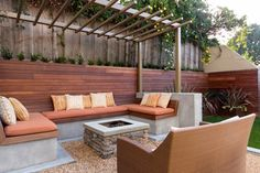 Square Stone Fire Pit, Concrete Cap, Buil In Bench Seating, Metal Pergola Built-In Seating Studio H Landscape Architecture Newport Beach, CA Fire Pit Seating, Backyard Seating, Built In Seating, Built In Bench, Outdoor Seating, Outdoor Decor, Outdoor Living, Seating Areas, Bench Seat