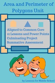 This is a comprehensive and complete unit for teaching about Area and Perimeter of Rectangles, Triangles, and other Polygons for grades 5 through 7.  Once you download this unit, you will not have to do anything except make copies for your students and guide them through the lessons, guided notes, practice problems, activities, and projects.