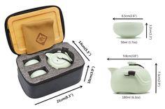 Amazon.com | OMyTea® Portable Travel Tea Set - 100% Handmade Chinese / Japanese Vintage Kungfu Gongfu Tea Set - Porcelain Teapot & Teacups & Bamboo Tea Tray & Tea Mat with a Portable Travel Bag (Green-2 cups): Tea Sets