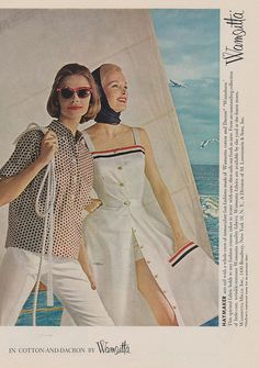 I'm smitten with every element of the nautical inspired skirt playsuit on the right. #vintage #fashion #summer #nautical #dress #boat #1950s