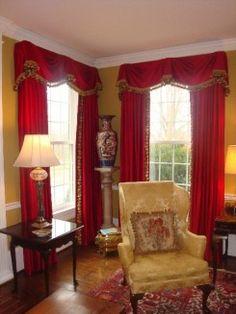 Donna Hovis Interiors Kingston Valance over Red silk panels Boyd Living Room