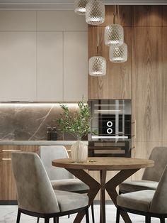 Beige interior on Behance Kitchen Room Design, Kitchen Cabinet Design, Modern Kitchen Design, Home Decor Kitchen, Interior Design Kitchen, Kitchen Ideas, Modern Design, Beige Kitchen, Modern Kitchen Interiors