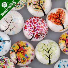 20 PCS 25MM/1 Inch Mixed Round Flat Back Handmade Photo Glass | Etsy Image Glass, Rock Painting Designs, Rock Crafts, Arts And Crafts Supplies, Glass Jewelry, Diy Jewelry, Jewelry Design, Pattern Mixing, Pebble Art