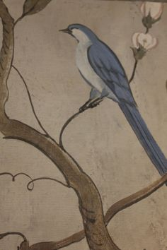 Hand painted wall murals at the Swedish Room Hand Painted Wallpaper, Hand Painted Walls, Swedish Wallpaper, Bird Embroidery, Embroidery Patterns, Wall Paint Colors, Chalk Paint Furniture, Fashion Painting, Woman Painting