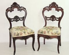 Two Victorian Rosewood Side Chairs
