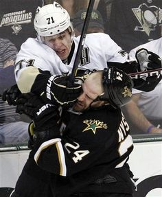 """02/29/12: Malkin takes offense - At Nystrom's check on Letang - """"You f*****, eat this!""""(Pens beat Stars in shootout, 4-3)"""
