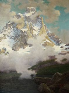 Mountains by Leonardo Roda, a painter in love - Italian Ways Mountain Paintings, Nature Paintings, Landscape Paintings, Leonardo, Mountain Art, Mountain Landscape, Casper David, Aosta Valley, Mountain Pictures