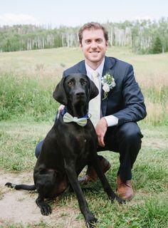 One dapper wedding pup: http://www.stylemepretty.com/colorado-weddings/steamboat-springs-colorado/2016/01/26/elegant-rustic-colorado-wedding/   Photography: Andy Barnhart - http://www.andybarnhart.com/