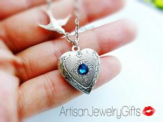 Silver Heart Locket Silver Sparrow Birthstone Necklace Silver