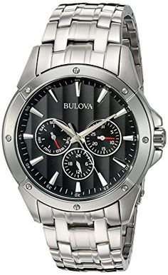 Bulova Men's Black Dial Stainless Steel Watch: Bulova Men's Stainless Steel Bracelet Watch with Black Dial Bulova Mens Watches, Mens Sport Watches, Luxury Watches For Men, Analog Watches, Best Affordable Watches, Skeleton Watches, Cool Watches, Wrist Watches, Men's Watches
