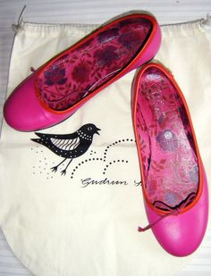 Gudrun Sjoden Beautiful Cerise Leather Ballerina Pumps 40 UK 7 with Bag | eBay