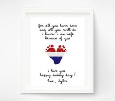 Father's Day Gift for New Dad  Baby Footprint by PitterPatterPrint, $30.00