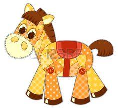 Aplicación caballo aislado en blanco. Ilustración vectorial Cildren.