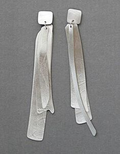 "Kathleen Faulkner: Wind Letter, Earrings in sterling silver. 4"" in length."