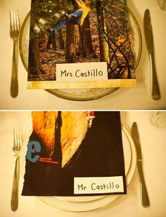 photo name cards for reception from an eco-friendly, thrifty wedding.