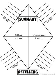 Summary & Retelling graphic organizer: students write details on the lines as they read and then write one sentence inside the diamond after they read. This is a great way for students to write book reports! Reading Resources, Reading Strategies, Reading Skills, Reading Comprehension, Guided Reading, Reading Projects, Teaching Language Arts, Teaching Writing, Writing Activities