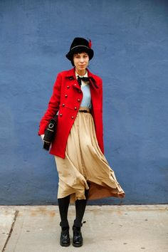On the Street……Red & Blue, NYC « The Sartorialist, something very whimsical about this look
