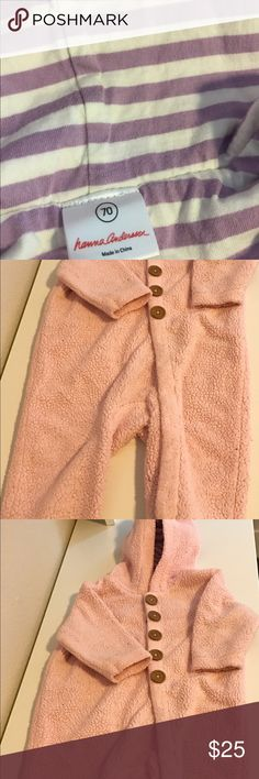 Hanna Anderson hooded fleece bear onesie Hanna Anderson hooded fleecy onesie. Adorable fleece pink coat/ onesie. Fully lined with lavender striped jersey. Super cute bear ears. Snaps completely around legs and body. Size 70 is approx 14-21 pounds. Lightly worn. No stains, non smoking household. Hanna Andersson Jackets & Coats