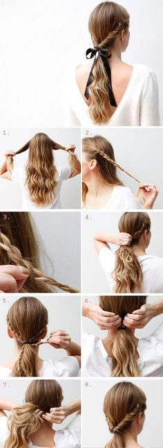 12 super einfache Frisuren für die faulen Tage 12 super easy hairstyles for the lazy days – 12 Super Easy Hairdos for Those Lazy Days These 12 hairstyles are super easy and especially when I'm lazy. No Heat Hairstyles, Step By Step Hairstyles, Braided Hairstyles, Trendy Hairstyles, Super Easy Hairstyles, Long Haircuts, Beautiful Hairstyles, Hairstyles For High School, Country Girl Hairstyles