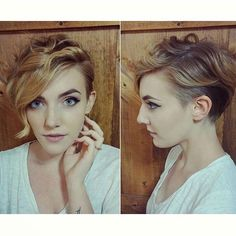 Pretty cut on @theblondfox #undercut #pixie #shorthair #shortsides #curlypixie