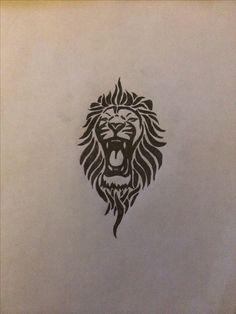 Tribal lion tattoo for my left inner forearm
