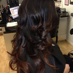Cute Highlights on black hair, come stop by #TopLevelSalon for this gorgeous…