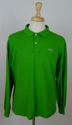 men's Lacoste solid green long sleeve cotton polo rugby XL shirt  #Lacoste #PoloRugby