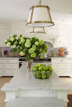The dream kitchen: white cabinets with a carrara countertop