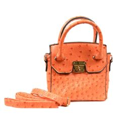 This is such a cute little purse and the bright orange is just lovely. Faux ostrich gives it a really chic look. The top handle style can be carried in-hand or worn as a cross body bag. Great size even for a tween or teen. $24.00 at PaulaandChlo.com