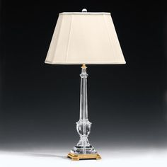 Crystal lamp and solid crystal table lamp. Solid crystal and antiqued brass table lamp. Table lamp has round hardback fabric shade Decor, Lamp Shade, Decor Crafts, Lamp, Crystal Light Fixture, Crystal Lamp, Lamp Light, Brass Lamp, Fabric Shades