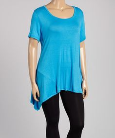 Love this Turquoise Sidetail Tunic - Plus on #zulily! #zulilyfinds