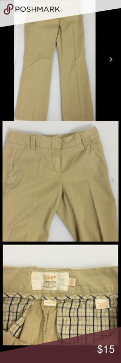 """J. CREW Chino 'Weathered & Broken-In' Khakis 2S Womens J. CREW Classic Twill Chino 'Weathered & Broken-In' Khaki Pants Size 2S    Waist 28""""  Inseam 29""""  Rise 8""""   Thanks for looking!   B822 J. Crew Pants Boot Cut & Flare"""