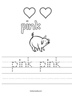 "Tracing the word ""Pink"", then color the flower pink! - The color ..."